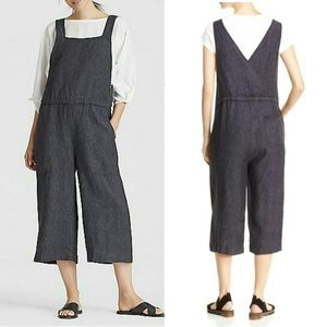 Organic Linen Declave Cropped Wide Leg Overall